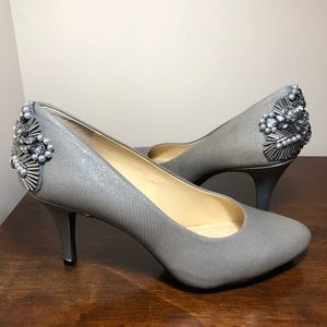 Gray silver sparkle rhinestone & beads pumps 7M